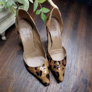 ANYI LU patent leather brown print shoe 37.5